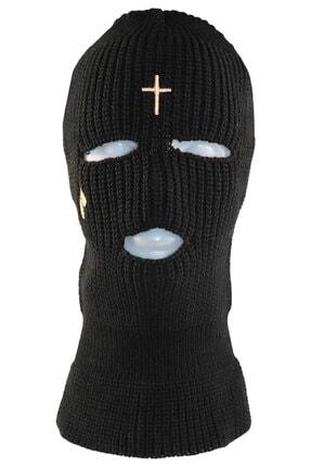 zirve şapka Kışlık Unisex 3 Gözlü Kar Maskesi Nakışlı Siyah
