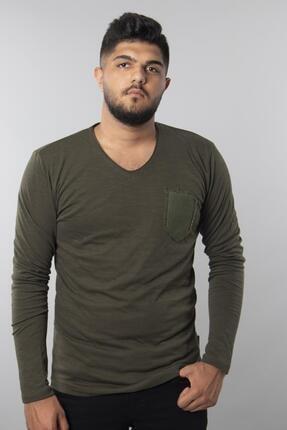 Fabregas Haki - Flamlı Hasır Cepli T-shirt