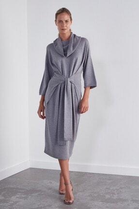 JOIN US Arkadan Bağlamalı Dikişsiz Triko Elbise-gri
