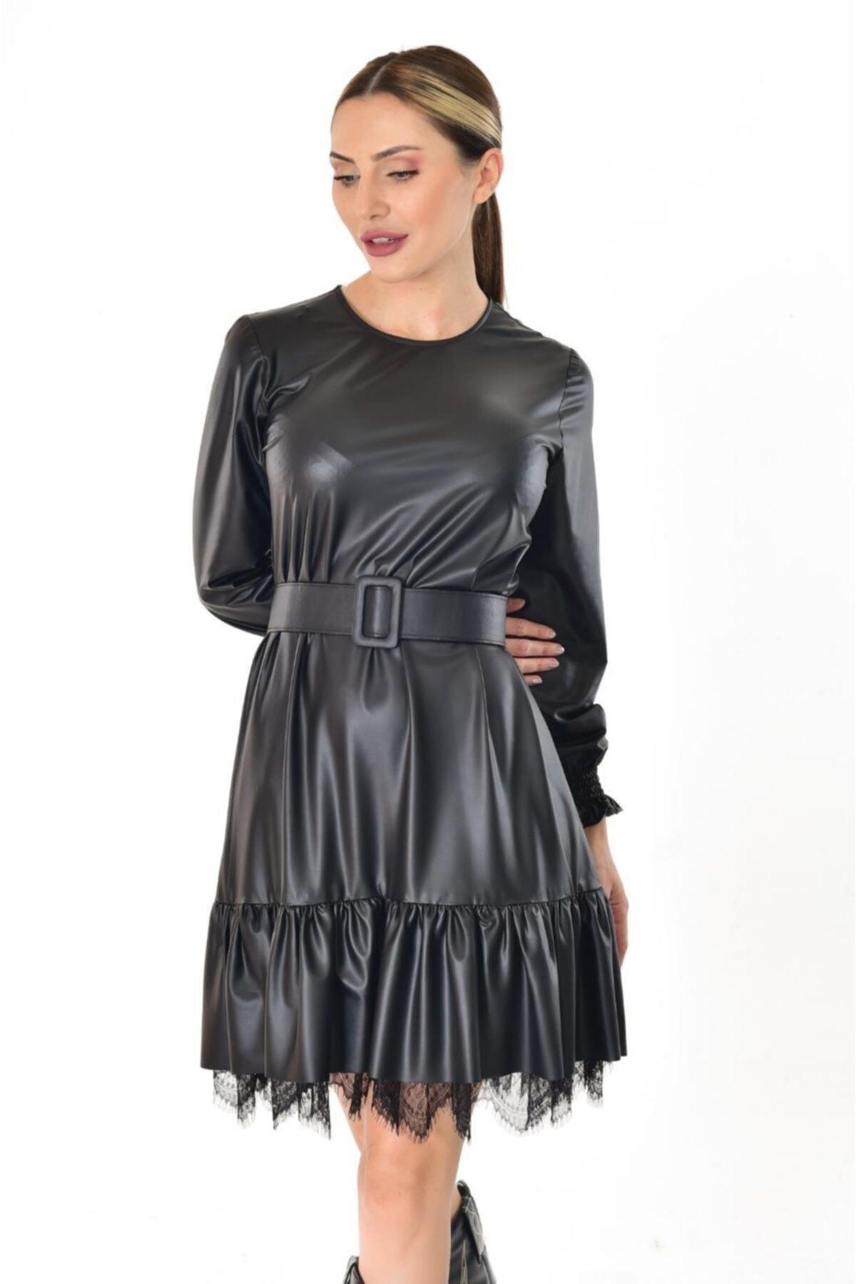 Estelle Giyim Kadın Ince Deri Siyah Elbise Estll0889 1