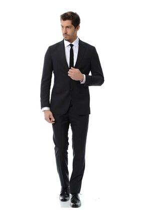 Kip Erkek Siyah Düz Dokuma 4 Drop Takım Elbise