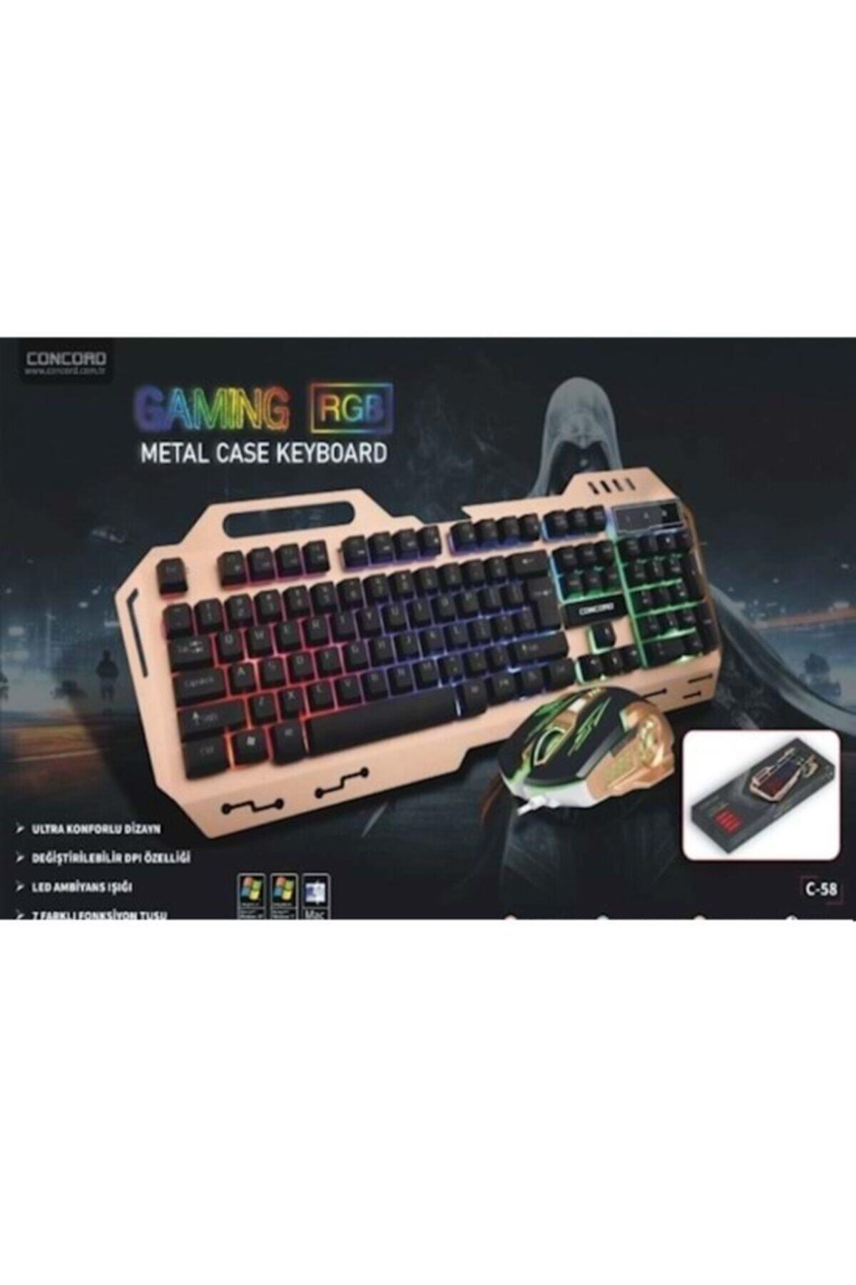 Concord C-58 Usb Aydınlatmalı Metal Kasa Q Gaming Mouse Klavye Set 2