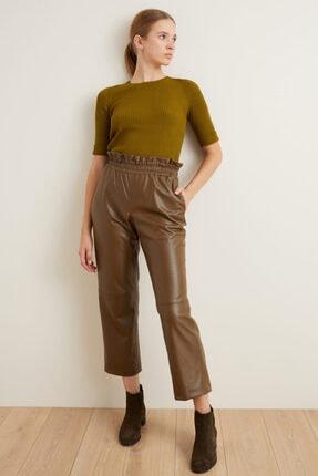 adL Kadın Yeşil Beli Lastikli Bol Deri Pantolon 15339402001