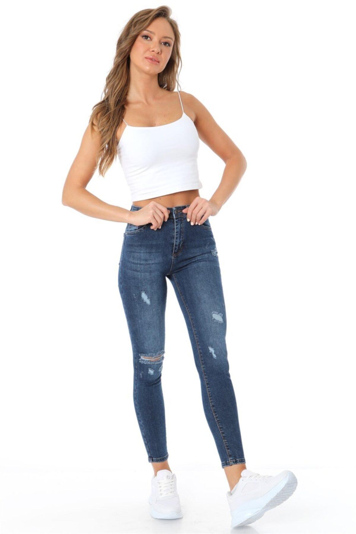 ZİNCiRMODA Yüksel Bel Dar Paça Yırtık Pantolon - Mavi 1