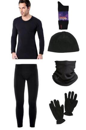 bonbonetti Lüx Siyah Termal Içlik Takımı Polar Bere Boyunluk Eldiven Termal Çorap Seti