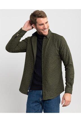 Tudors Slim Fit Kışlık Baskılı Haki Erkek Gömlek