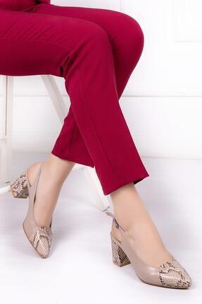 Deripabuc Hakiki Deri Bej Yılan Kadın Topuklu Deri Ayakkabı Shn-0739