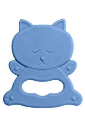 Bambino Kauçuk Yumuşak Diş Kaşıyıcı - Kedi Figürlü Mavi