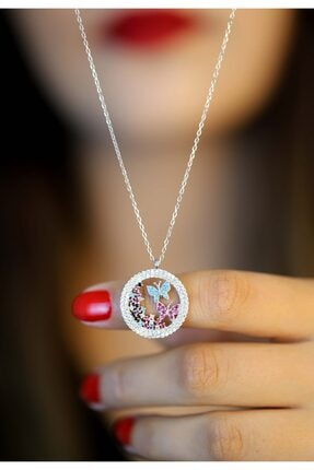 Midyat Gümüş Dünyası 925 Ayar Zirkon Taşlı Kelebek Model Hayalet Kolye