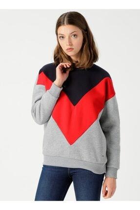 Loft Kadın Regular Fit Şeritli Gri Sweatshirt Lf2022950