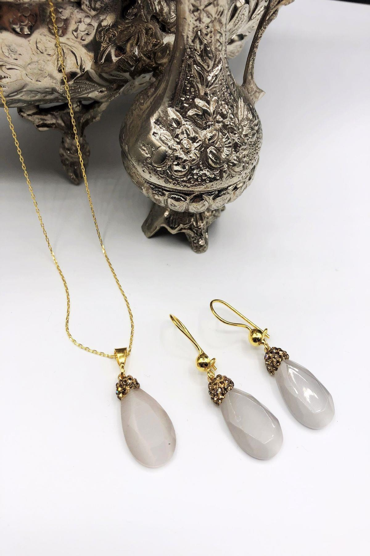 Dr. Stone Dr Stone Harem Koleksiyonu Kedigözü Taşı El Yapımı 925 Ayar Gümüş Set Gdr7 1