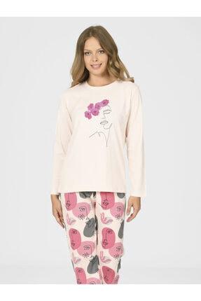 NBB Yüz Çizgi Desenli Kadın Pijama Takımı 67028