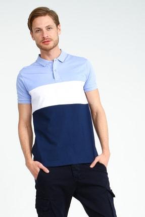 Collezione Lila Erkek Pembe Polo Yaka Spor Parçalı Çizgili Regular Kısa Kol T-shirt