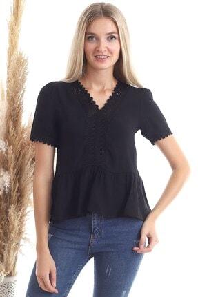 Cotton Mood 20343456 Keten Önü Güpürlü Eteği Volanlı Kısa Kol Bluz Sıyah