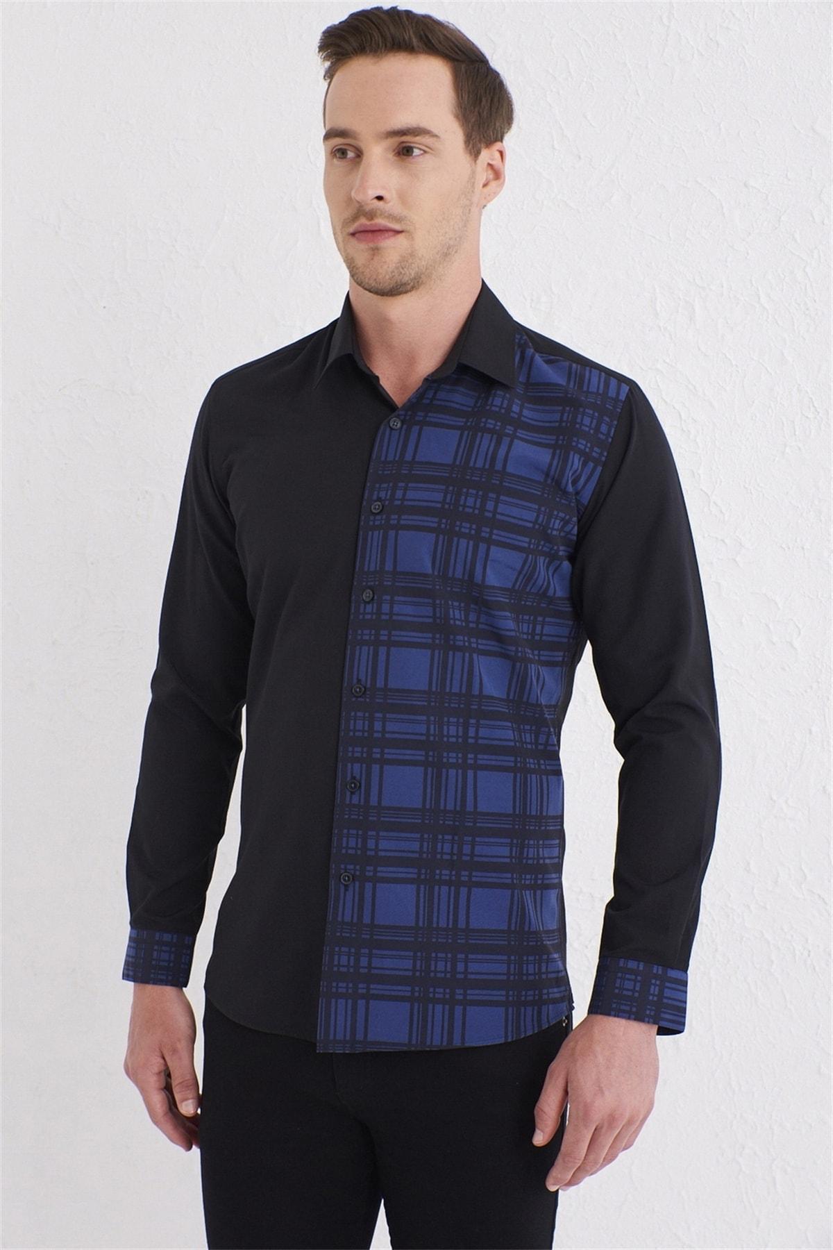 Efor G 1444 Slim Fit Siyah Spor Gömlek 2