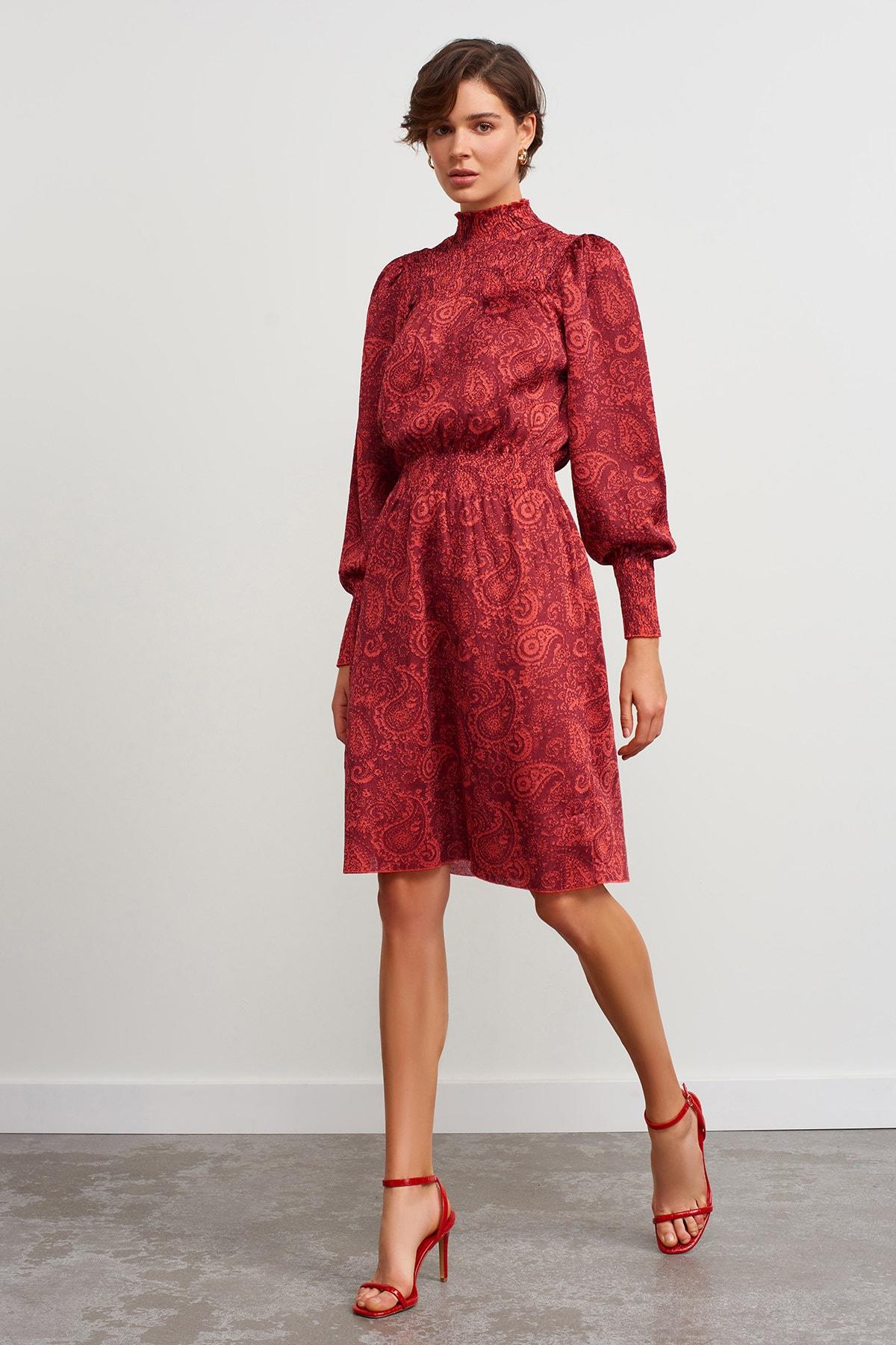 JOIN US Dik Yaka Desenli Triko Elbise-kırmızı 1
