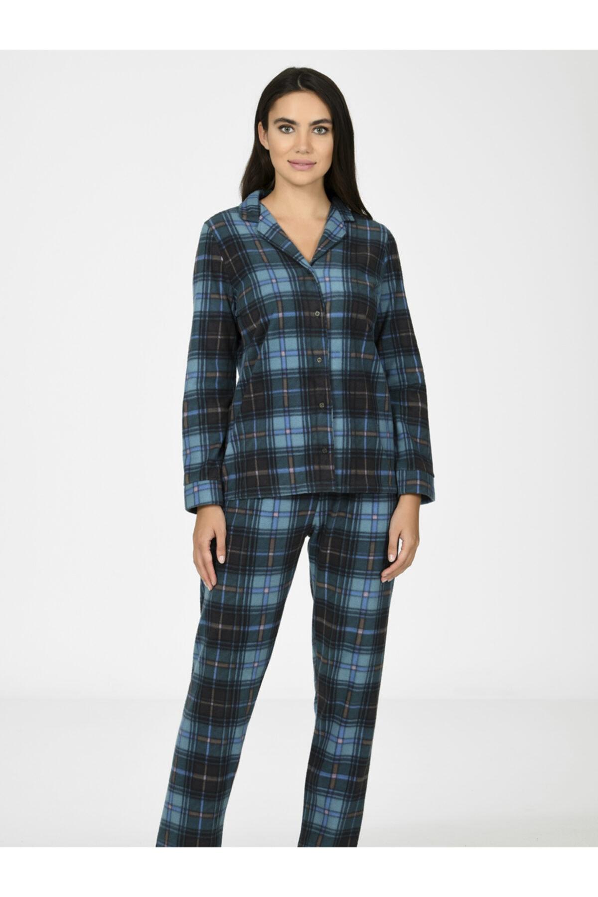 NBB Ekose Polar Kadın Pijama Takımı 67020 1