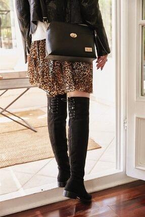 Bambi Siyah Süet Kadın Çizme K0503408072