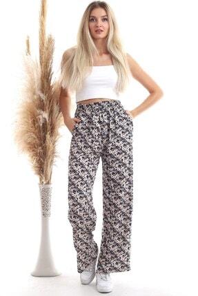 Cotton Mood 20343432 Dok.viskon Çiçek Desenli Cepli Bol Paça Pantolon Ekru Çıçek Desen