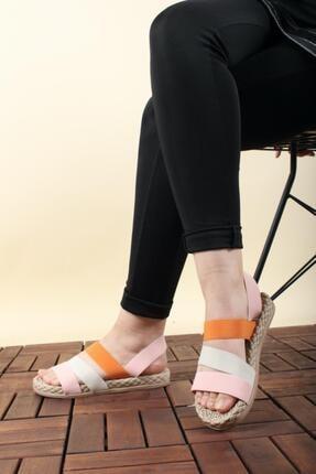 Oksit Florin Renkli Şeritli Kadın Sandalet