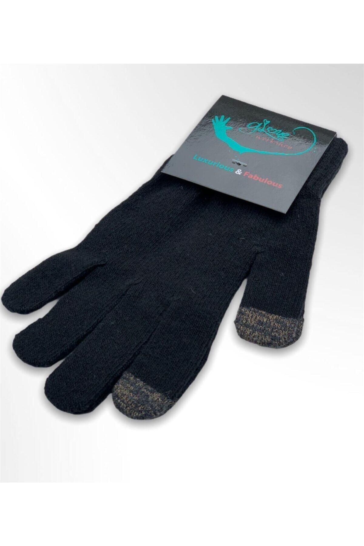 Glove workshop Unisex Siyah Düz Dokunmatik Ekran Eldiven 1