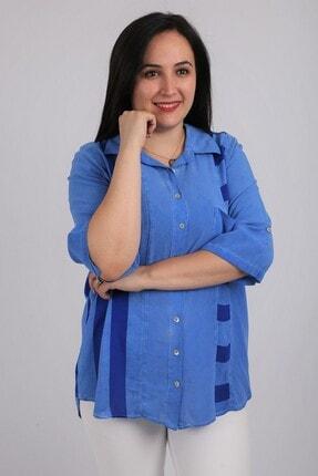 Günay Kadın Gömlek Rg6720 Ilkbahar Yaz Renk Mixli-saks Mavi