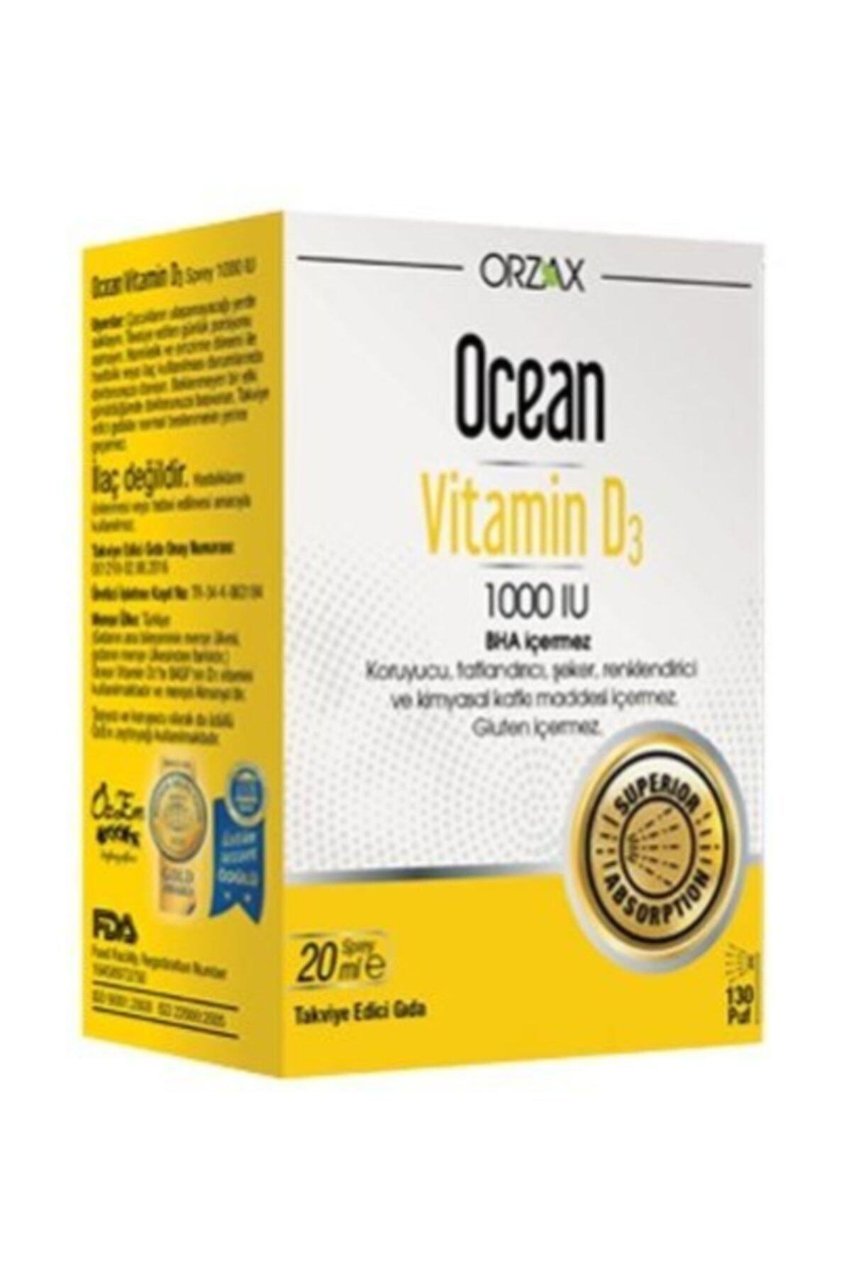 Orzax Ocean Vitamin D3 1000 Iu Sprey 20ml 1