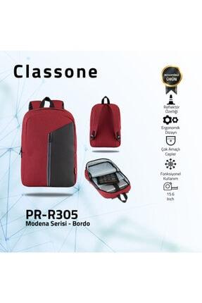 Classone Modena Pr-r305 15.6 Inç Notebook, Laptop Sırt Çantası-bordo-gri Astar