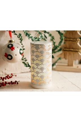 English Home Shine Metal Ledli Fener 8x8x17 Cm Beyaz