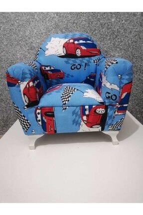 Lotus Ayaklı Çocuk Koltuğu Çocuk Odası Mobilya Mavi Arabalı