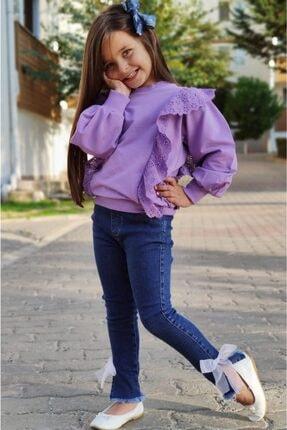 Riccotarz Kız Çocuk Üstü Güpürlü Pantolonlu Mor Alt Üst Takım