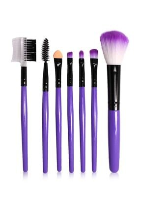 Makeuptime 7'li Deri Çantalı Fırça Seti Mor Renk