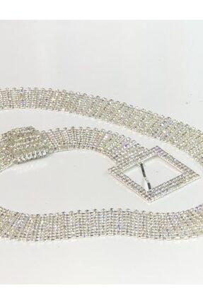 ELİGE Kristal Taşlı Lüks Su Yolu Kemer 8 Sıralı-100cm S/m