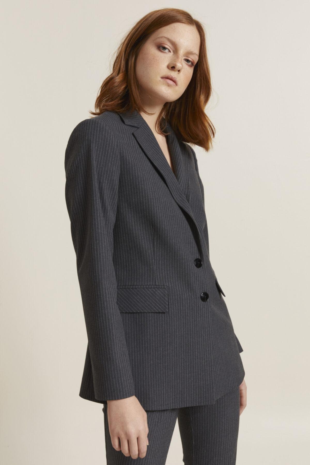 adL Kadın Antrasit Erkek Yaka Çizgili Ceket 1