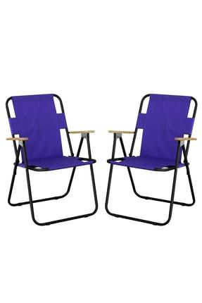 Byeren 2'li Ağaç Kollu Katlanır Plaj, Piknik & Kamp Sandalyesi Seti Mor