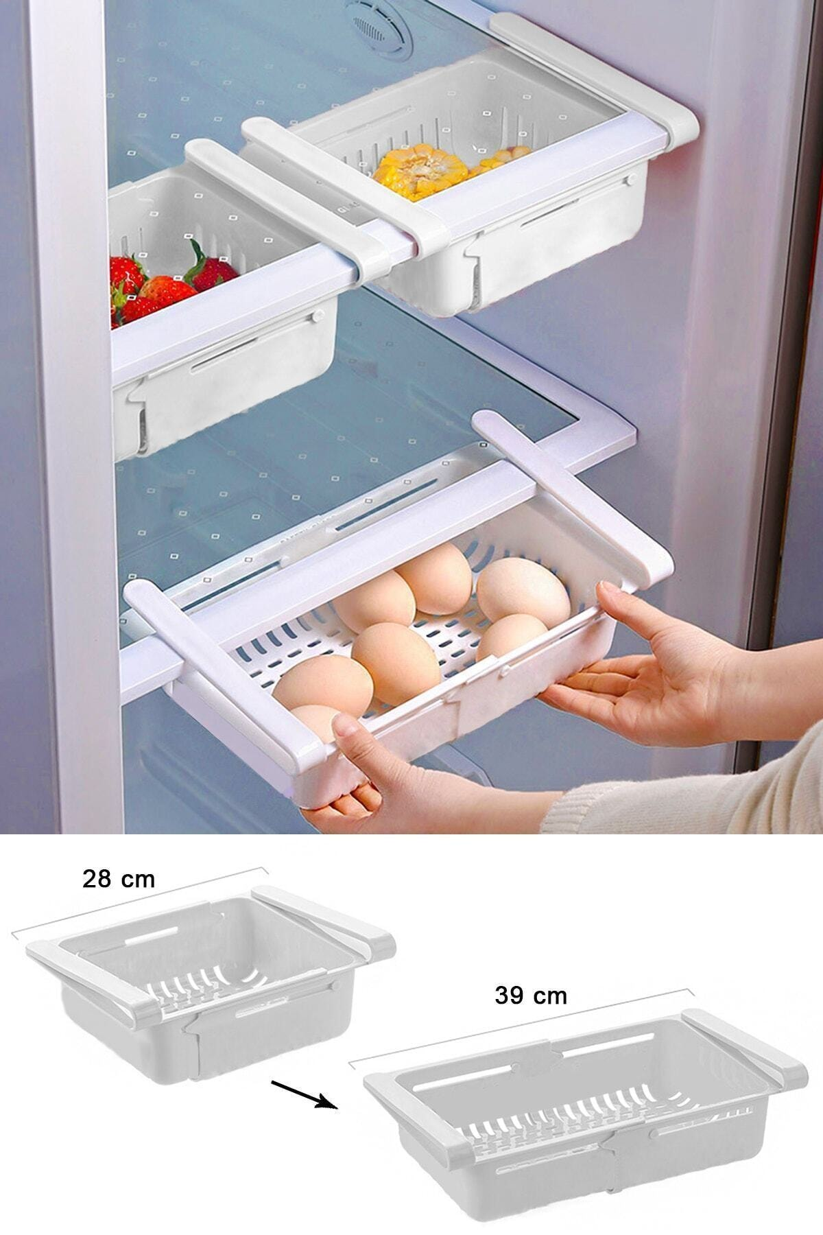 zeynonun dükkanı Ayarlanabilir Buzdolabı Dolap Içi Düzenleyici Sepet Çekmece Raf Organizeri 1