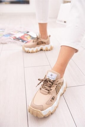 Limoya Lutzy Ten Süet Leopar Detaylı Renkli Tabanlı Sneakers