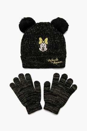 Koton Kids Siyah Kız Çocuk Minnie Mouse Islemeli Bere Eldiven Seti