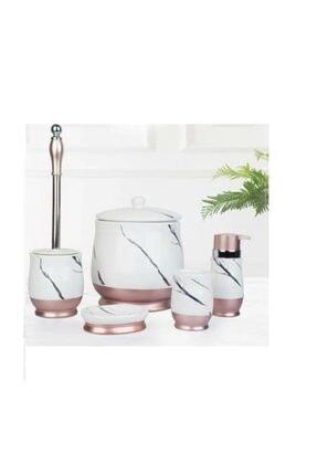 ACAR Mermer 5 Prç Çöp Kovalı Porselen Beyaz/rose Banyo Seti 9530