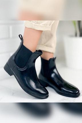 Limoya Bailey Siyah Parlak Lastikli Yağmur Botu ( Su Geçirmez )