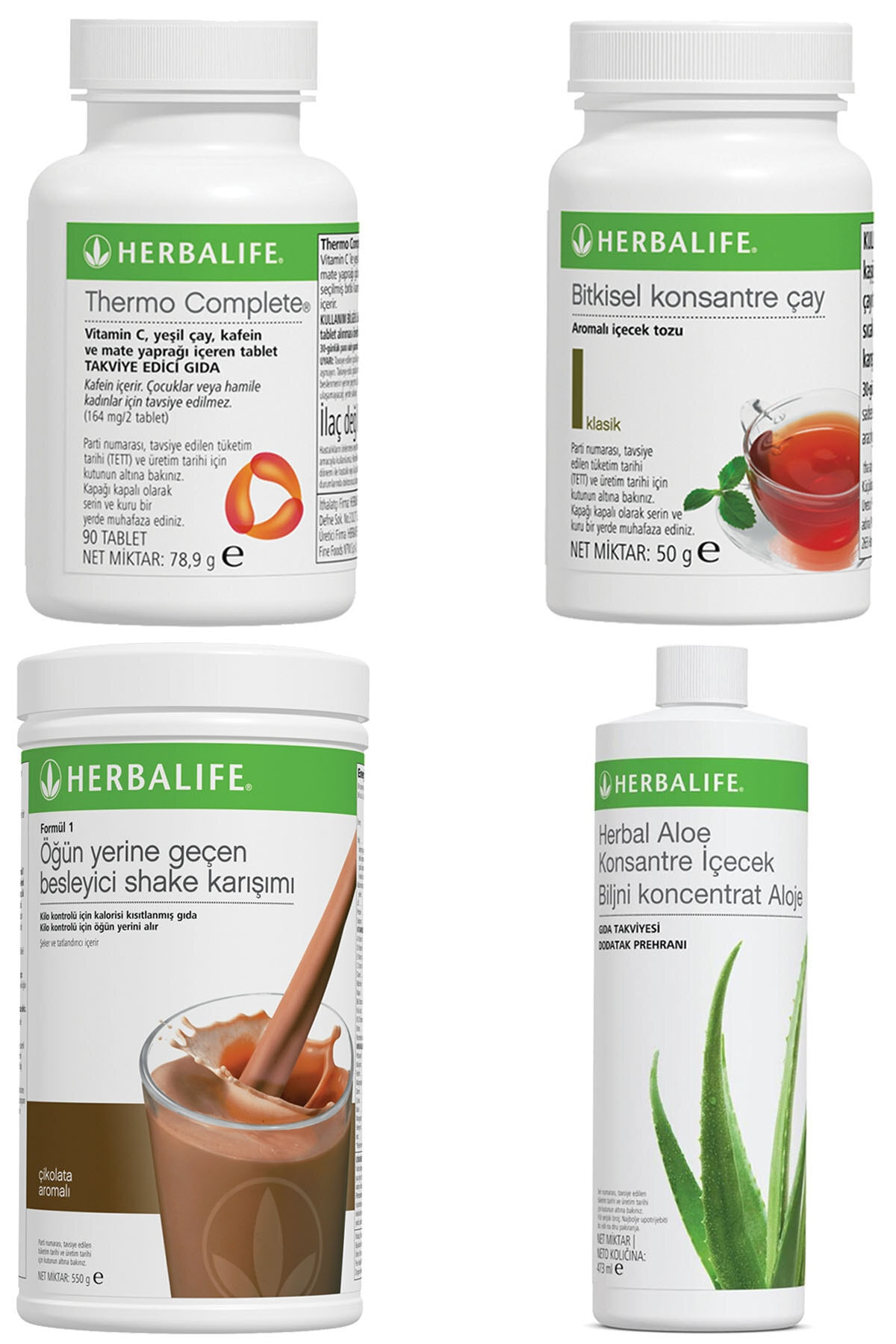 Herbalife Shake Çikolatalı, Thermo Complete, Aloe Vera Konsantre Içecek, Klasik Çay 50gr Birer Adet 1