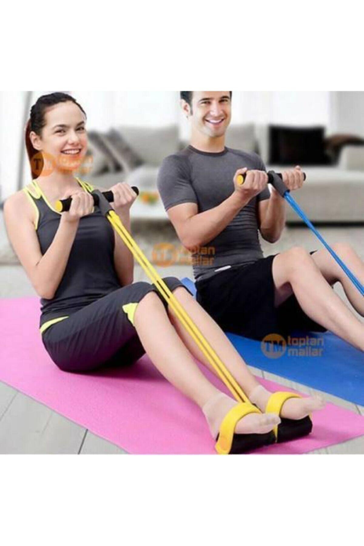 AVESSA Sarı Body Trimmer Ayaklı Direnç Karın Egzersiz Lastiği 1