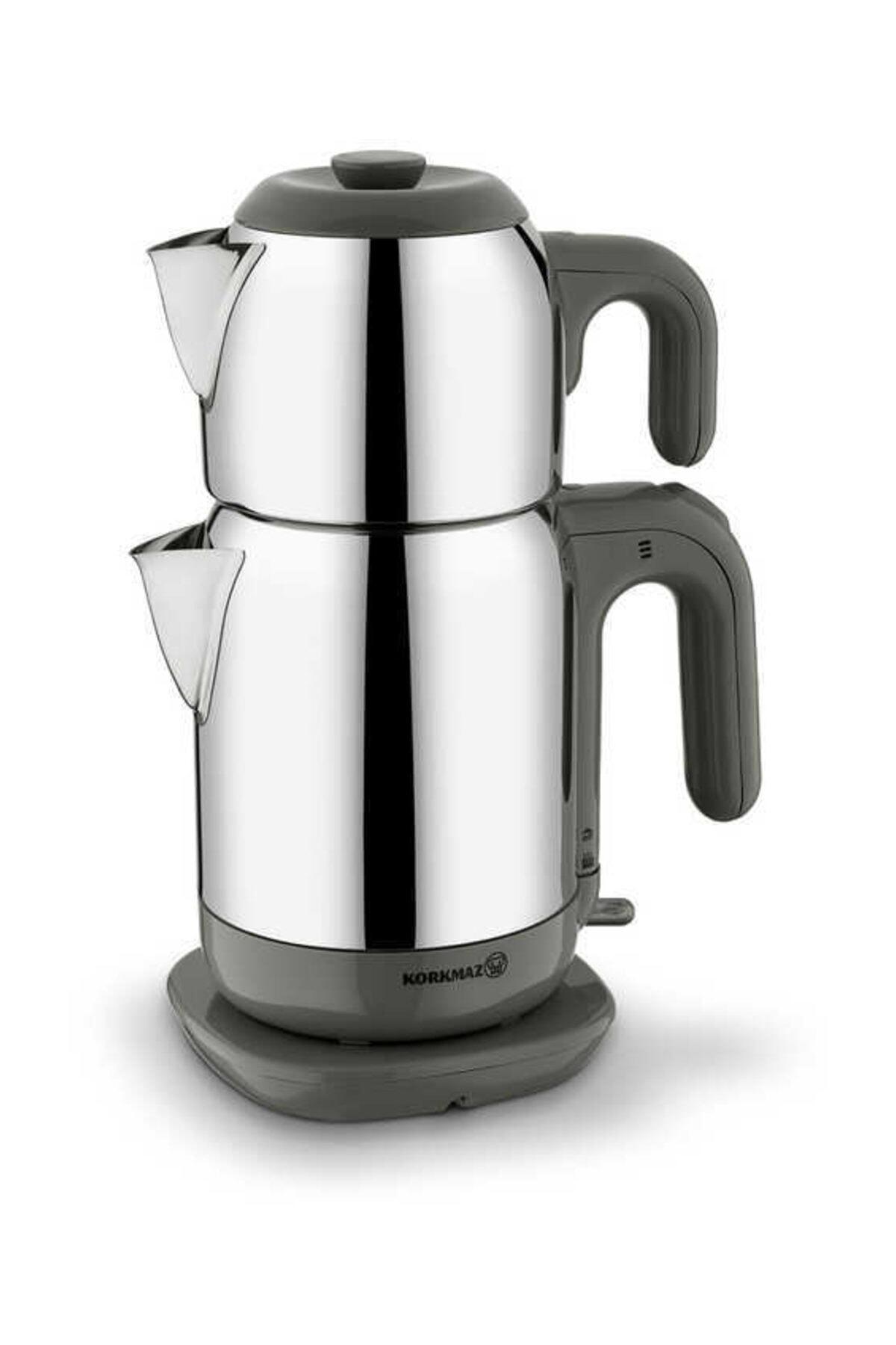 KORKMAZ Demtez Satin/gri Elektrikli Çaydanlık 1
