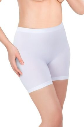 Emay Kadın Beyaz Soft Uzun Paçalı Boxer Seamless (Dikişsiz) 3003