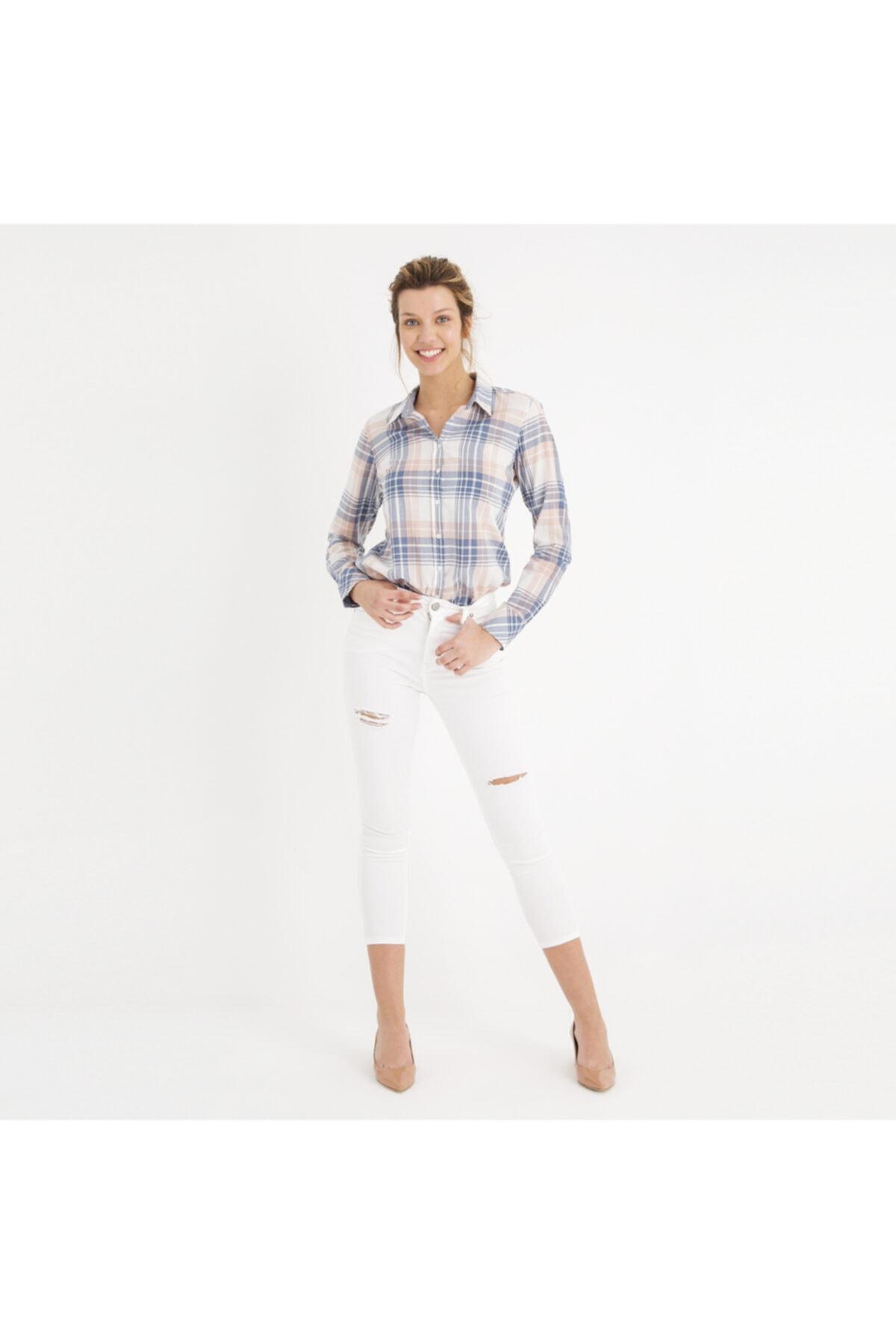 Mustang Perfect Shape Kadın Jean Pantolon Beyaz 1