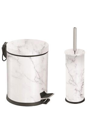 Foreca Mermer Desen 2 Li Çöp Kovası Beyaz