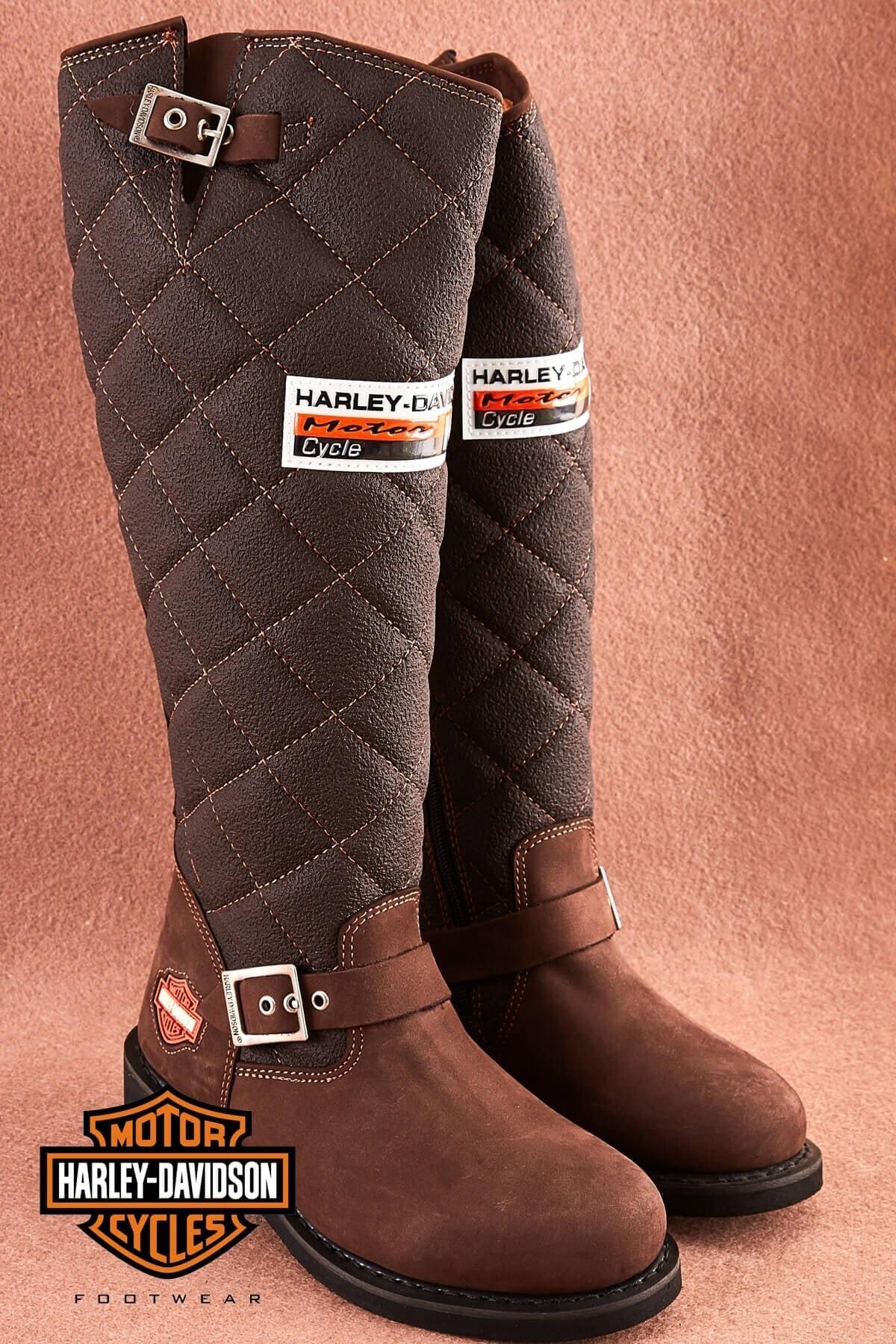 Harley Davidson Laconia D.brown Deri Kadın Çizme 1