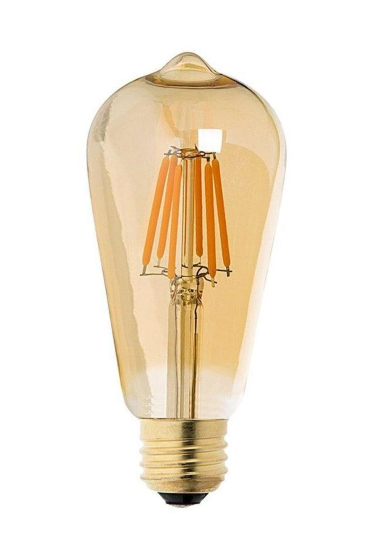Floresan Ampuller Rustik Edison Led Ampül E27 Duy Armut Tipi St64 Model 4w Amber Rengi 1
