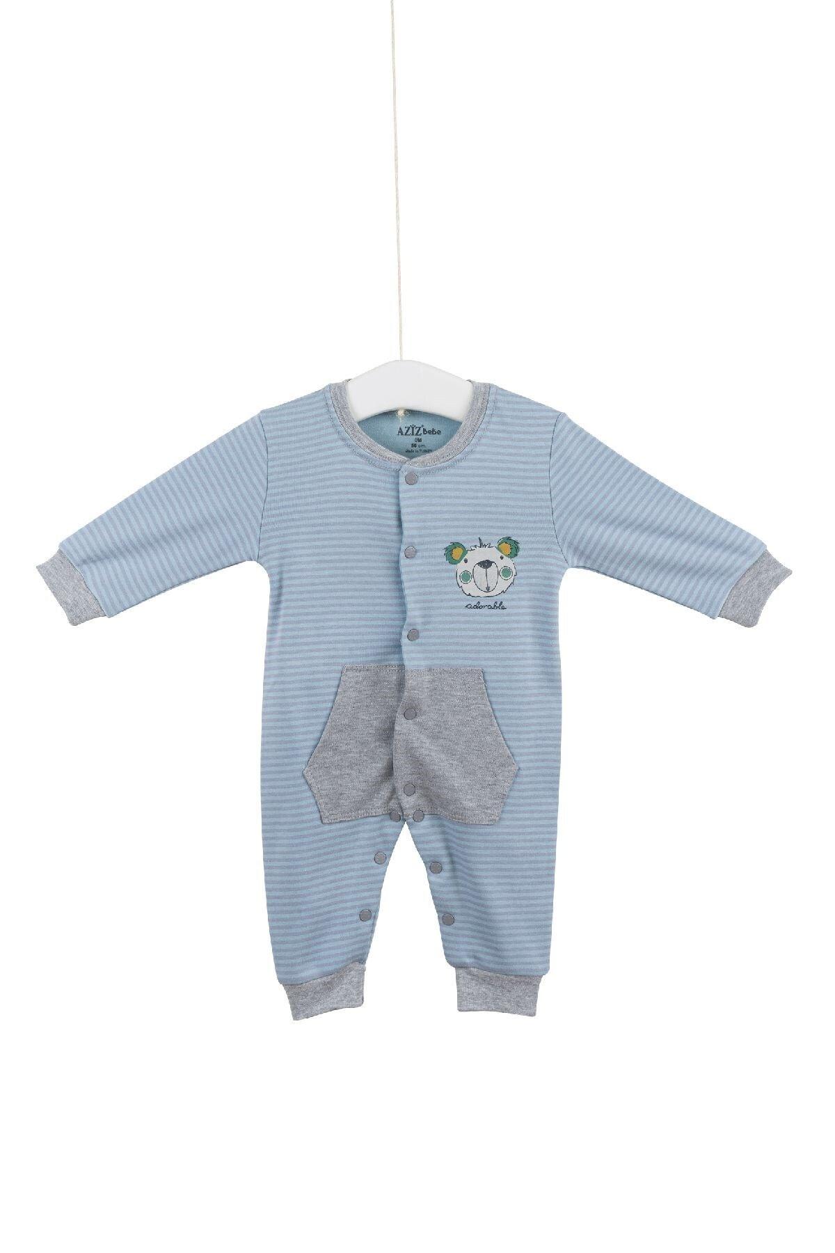 Aziz Bebe 6683 Erkek Bebek Mavi Pamuklu Cepli Tulum 1
