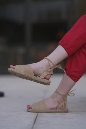 Oksit Florin 566 Hasır Bağlamalı Kadın Sandalet